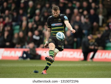 Northampton, UK. 16th February 2019. Dan Biggar of Northampton Saints kicks a conversion during the Gallagher Premiership Rugby match between Northampton Saints and Sale Sharks