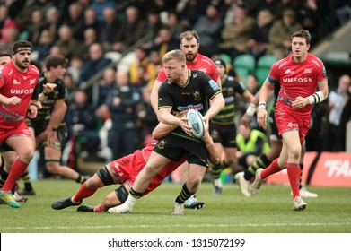 Northampton, UK. 16th February 2019. James Fish of Northampton Saints runs with the ball during the Gallagher Premiership Rugby match between Northampton Saints and Sale Sharks
