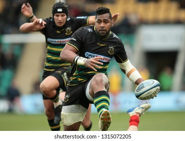 Northampton, UK. 16th February 2019. Taqele Naiyaravoro of Northampton Saints runs with the ball during the Gallagher Premiership Rugby match between Northampton Saints and Sale Sharks