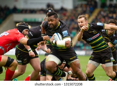 Northampton, UK. 16th February 2019. Taqele Naiyaravoro of Northampton Saints makes a break for the try line, during the Gallagher Premiership Rugby match between Northampton Saints and Sale Sharks