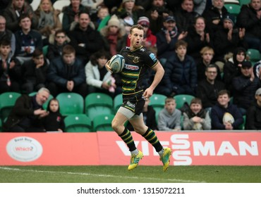 Northampton, UK. 16th February 2019. Rory Hutchinson of Northampton Saints scores a try during the Gallagher Premiership Rugby match between Northampton Saints and Sale Sharks
