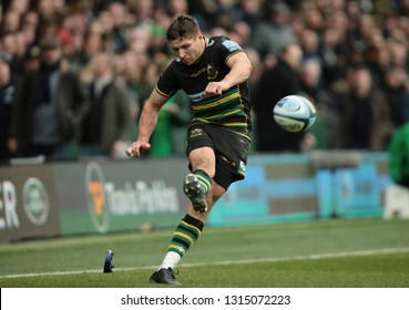 Northampton, UK. 16th February 2019. Piers Francis of Northampton Saints kicks a conversion during the Gallagher Premiership Rugby match between Northampton Saints and Sale Sharks