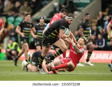 Northampton, UK. 16th February 2019. Tom Wood of Northampton Saints runs with the ball during the Gallagher Premiership Rugby match between Northampton Saints and Sale Sharks