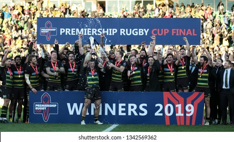 Northampton, UK. 17th March 2019. Northampton Saints lift the Premiership Rugby Cup after beating Saracens in the Premiership Rugby Cup Final.