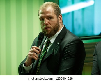 Northampton, UK. 18th January 2019. James Haskell of Northampton Saints during a Q&A session ahead of the European Rugby Challenge Cup match between Northampton Saints and Timisoara Saracens