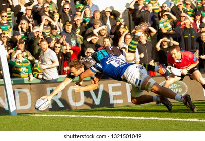 Northampton, UK. 23rd February 2019. Rory Hutchinson of Northampton Saints scores a try during the Gallagher Premiership Rugby match between Northampton Saints and Bath