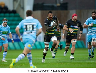 Northampton, UK. 24th August 2018. Courtney Lawes of Northampton Saints runs with the ball during the Pre-Season friendly game between Northampton Saints and Glasgow Warriors at Franklin's Gardens.