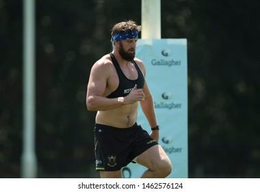 Northampton, UK. 25th July 2019. Tom Wood during Northampton Saints Pre-season training ahead of the Gallagher Premiership Rugby 2019-20 Season