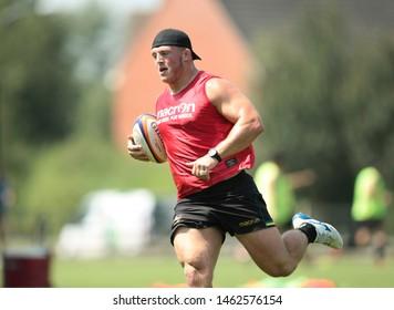 Northampton, UK. 25th July 2019. Alex Waller during Northampton Saints Pre-season training ahead of the Gallagher Premiership Rugby 2019-20 Season