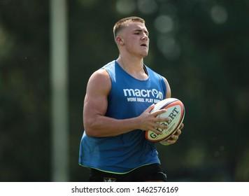 Northampton, UK. 25th July 2019. Ollie Sleightholme during Northampton Saints Pre-season training ahead of the Gallagher Premiership Rugby 2019-20 Season