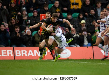 Northampton, UK. 26th January 2019. James Grayson of Northampton Saints scores a try during the Premiership Rugby Cup match between Northampton Saints and Leicester Tigers