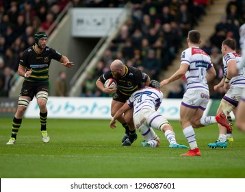 Northampton, UK. 26th January 2019. Ben Franks of Northampton Saints runs with the ball during the Premiership Rugby Cup match between Northampton Saints and Leicester Tigers