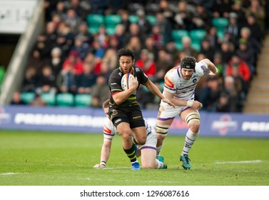 Northampton, UK. 26th January 2019. Nafi Tuitavake of Northampton Saints runs with the ball during the Premiership Rugby Cup match between Northampton Saints and Leicester Tigers