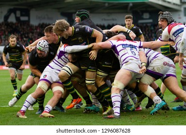 Northampton, UK. 26th January 2019. Northampton Saints push for the try line during the Premiership Rugby Cup match between Northampton Saints and Leicester Tigers
