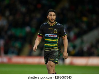 Northampton, UK. 26th January 2019. Nafi Tuitavake of Northampton Saints during the Premiership Rugby Cup match between Northampton Saints and Leicester Tigers