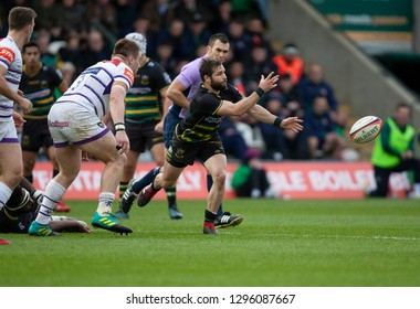 Northampton, UK. 26th January 2019. Cobus Reinach of Northampton Saints passes the ball during the Premiership Rugby Cup match between Northampton Saints and Leicester Tigers