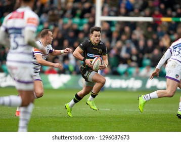 Northampton, UK. 26th January 2019. Tom Collins of Northampton Saints runs with the ball during the Premiership Rugby Cup match between Northampton Saints and Leicester Tigers