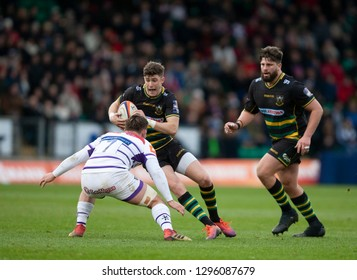 Northampton, UK. 26th January 2019. James Grayson of Northampton Saints runs with the ball during the Premiership Rugby Cup match between Northampton Saints and Leicester Tigers