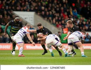 Northampton, UK. 26th January 2019. Francois Van Wyk of Northampton Saints runs with the ball during the Premiership Rugby Cup match between Northampton Saints and Leicester Tigers