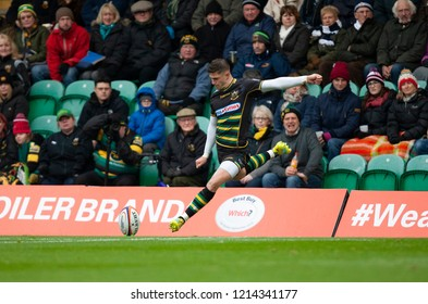 Northampton, UK. 27th October 2018. James Grayson of Northampton Saints during the Premiership Rugby Cup match between Northampton Saints and Bristol Bears