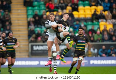 Northampton, UK. 27th October 2018. James Grayson of Northampton Saints catches the ball during the Premiership Rugby Cup match between Northampton Saints and Bristol Bears