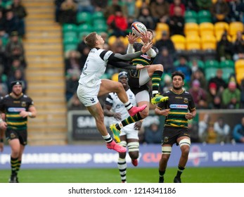Northampton, UK. 27th October 2018. James Grayson of Northampton Saints jumps for the ball during the Premiership Rugby Cup match between Northampton Saints and Bristol Bears