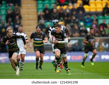 Northampton, UK. 27th October 2018. James Grayson of Northampton Saints runs with the ball during the Premiership Rugby Cup match between Northampton Saints and Bristol Bears
