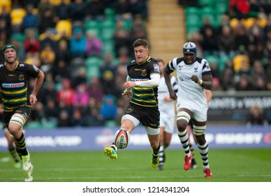 Northampton, UK. 27th October 2018. James Grayson of Northampton Saints kicks the ball during the Premiership Rugby Cup match between Northampton Saints and Bristol Bears