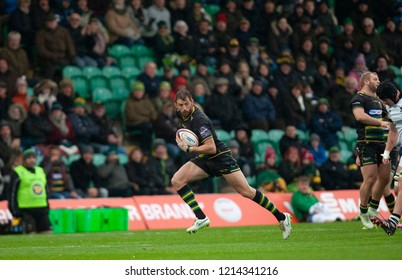 Northampton, UK. 27th October 2018. Tom Wood of Northampton Saints during the Premiership Rugby Cup match between Northampton Saints and Bristol Bears