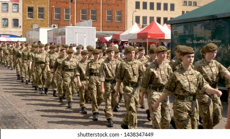 Northampton UK: 29 June 2019 - Armed Forces Day Parade Troops marching on Market Square