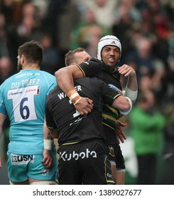 Northampton, UK. 4th May 2019. Luther Burrell of Northampton Saints celebrates after scoring a try during the Gallagher Premiership Rugby match between Northampton Saints and Worcester Warriors