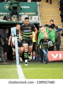 Northampton, UK. 4th May 2019. Luther Burrell of Northampton Saints runs out for his last home game, ahead of the Gallagher Premiership Rugby match between Northampton Saints and Worcester Warriors