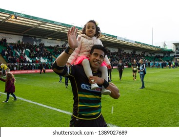 Northampton, UK. 4th May 2019. Ken Pisi of Northampton Saints does a lap of honour following the Gallagher Premiership Rugby match between Northampton Saints and Worcester Warriors