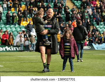 Northampton, UK. 4th May 2019. Ben Franks of Northampton Saints does a lap of honour with his children following the Gallagher Premiership Rugby match between Northampton Saints and Worcester Warriors