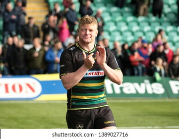 Northampton, UK. 4th May 2019. Reece Marshall of Northampton Saints applauds supporters following the Gallagher Premiership Rugby match between Northampton Saints and Worcester Warriors