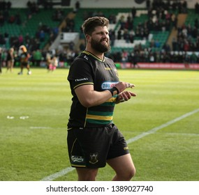 Northampton, UK. 4th May 2019. Francois Van Wyk of Northampton Saints applauds supporters after the Gallagher Premiership Rugby match between Northampton Saints and Worcester Warriors