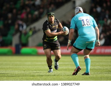 Northampton, UK. 4th May 2019. Samson Ma'asi of Northampton Saints runs with the ball during the Gallagher Premiership Rugby match between Northampton Saints and Worcester Warriors