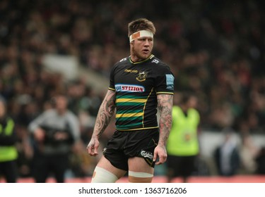 Northampton, UK. 7th April 2019. Teimana Harrison of Northampton Saints looks on, during the Gallagher Premiership Rugby match between Northampton Saints and Gloucester