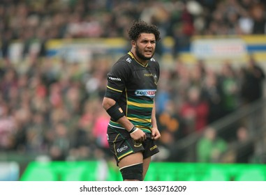 Northampton, UK. 7th April 2019. Lewis Ludlam of Northampton Saints during the Gallagher Premiership Rugby match between Northampton Saints and Gloucester