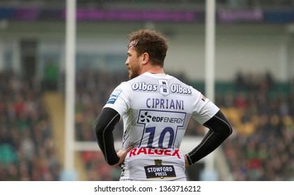 Northampton, UK. 7th April 2019. Gloucester's Danny Cipriani looks on during the Gallagher Premiership Rugby match between Northampton Saints and Gloucester