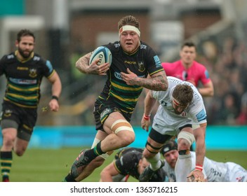 Northampton, UK. 7th April 2019. Teimana Harrison of Northampton Saints runs with the ball during the Gallagher Premiership Rugby match between Northampton Saints and Gloucester