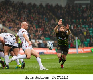 Northampton, UK. 7th April 2019. Cobus Reinach of Northampton Saints charges down Willi Heinz' kick during the Gallagher Premiership Rugby match between Northampton Saints and Gloucester