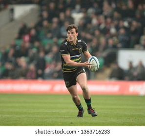 Northampton, UK. 7th April 2019. George Furbank of Northampton Saints runs with the ball during the Gallagher Premiership Rugby match between Northampton Saints and Gloucester