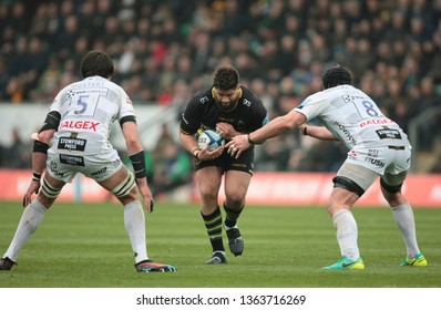 Northampton, UK. 7th April 2019. Francois Van Wyk of Northampton Saints runs with the ball during the Gallagher Premiership Rugby match between Northampton Saints and Gloucester