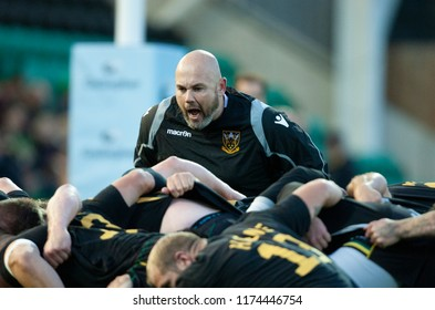 Northampton, UK. 7th September 2018. Northampton Saints assistant coach, Matt Ferguson ahead of the Gallagher Premiership round 2 match between Northampton Saints and Harlequins at Franklin's Gardens.