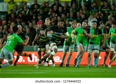 Northampton, UK. 7th September 2018. Courtney Lawes of Northampton Saints during the Gallagher Premiership round 2 match between Northampton Saints and Harlequins at Franklin's Gardens.