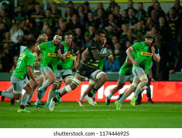 Northampton, UK. 7th September 2018. Courtney Lawes of Northampton Saints makes a break during the Gallagher Premiership round 2 match between Northampton Saints and Harlequins at Franklin's Gardens.