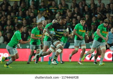 Northampton, UK. 7th September 2018. Courtney Lawes of Northampton Saints during the Gallagher Premiership round 2 match between Northampton Saints and Harlequins at Franklin's Gardens