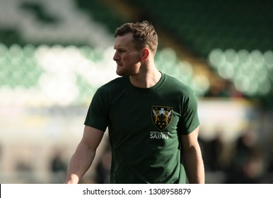 Northampton, UK. 9th February 2019. Rory Hutchinson of Northampton Saints warms up ahead of the Premiership Rugby Cup semi-final between Northampton Saints and Newcastle Falcons