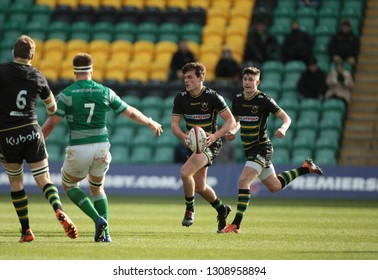 Northampton, UK. 9th February 2019. George Furbank of Northampton Saints runs with the ball during the Premiership Rugby Cup semi-final between Northampton Saints and Newcastle Falcons